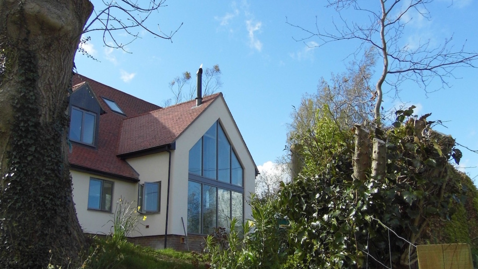 Flue through a roof to a new build property in Radnage, Buckinghamshire.