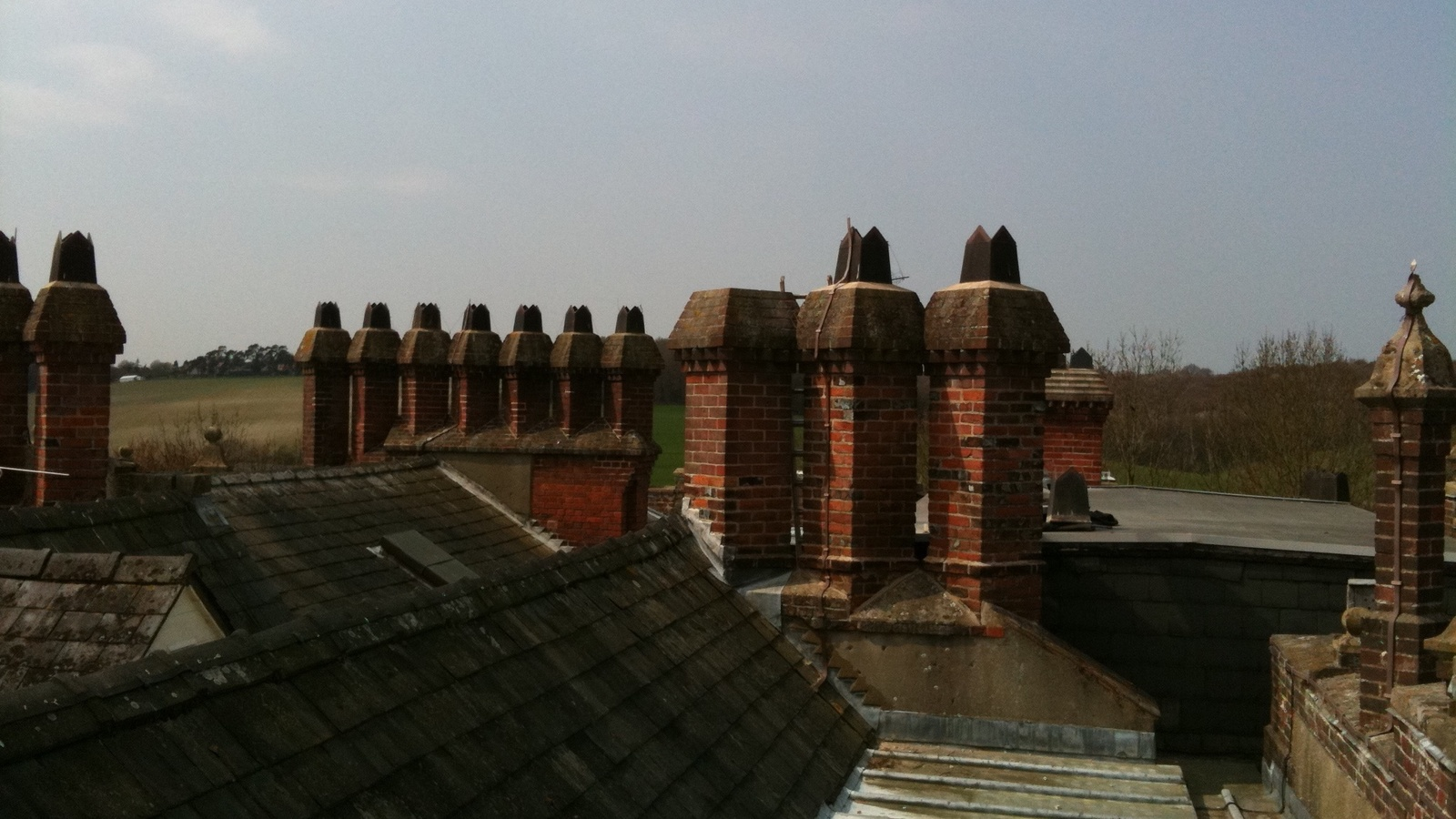 The rooftop of Hughenden Manor, High Wycombe.
