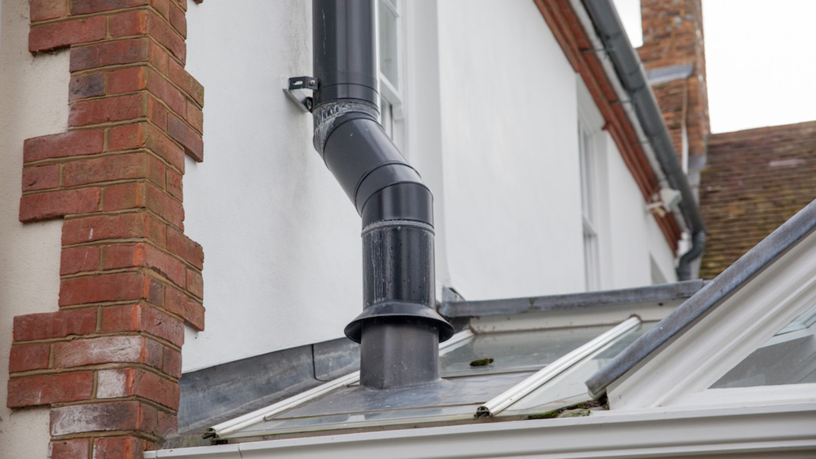 Twin Wall Flue to a glass conservatory - External View
