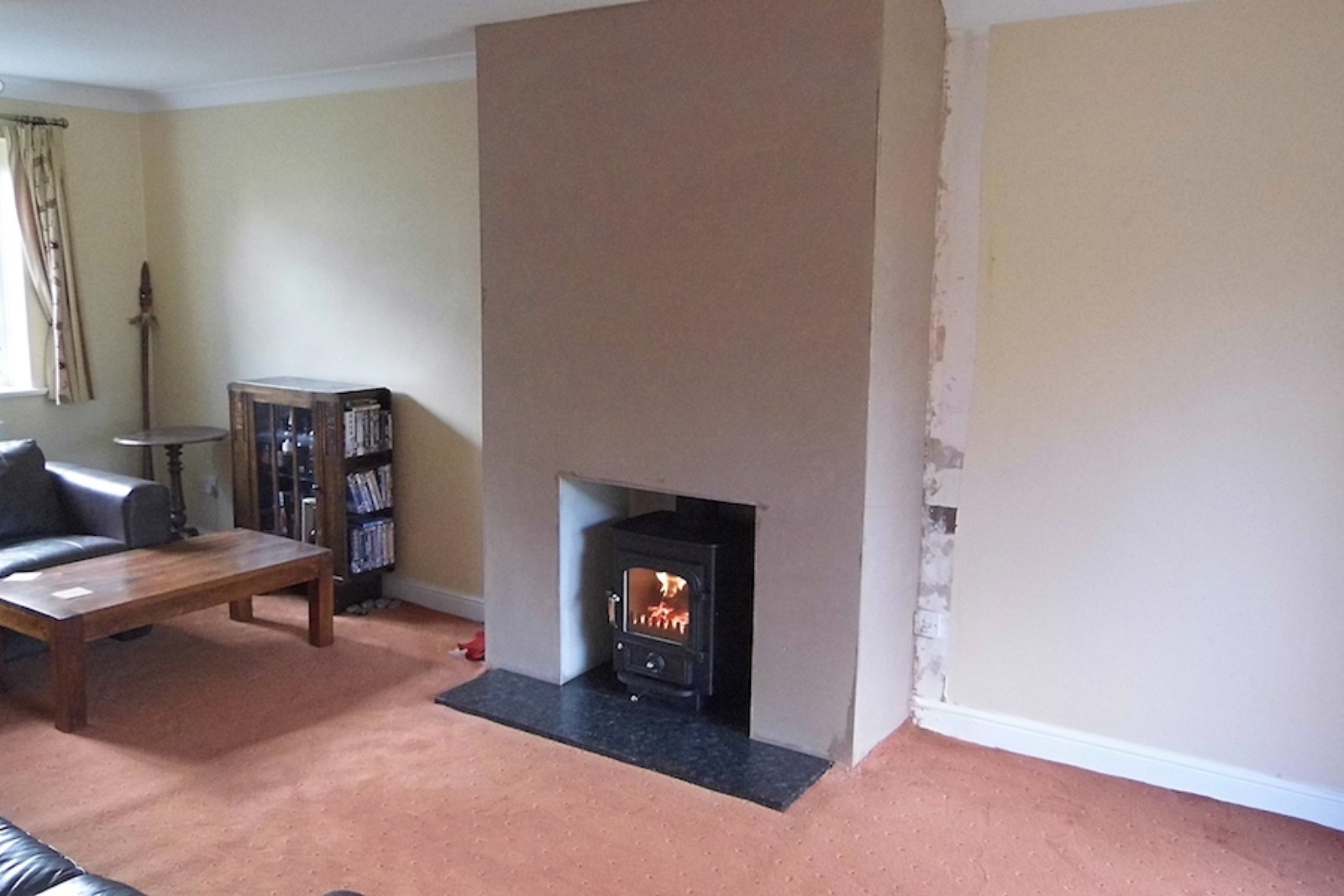 A new faux chimney breast complete with Clearview Pioneer 400 in Haddenham