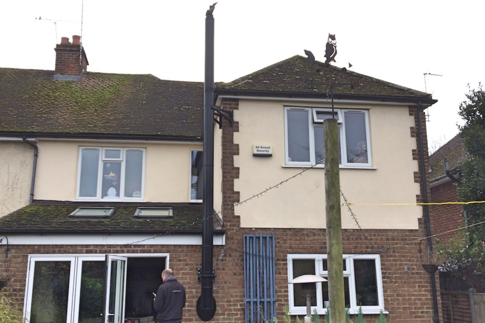 Powder coated flue to a kitchen extension