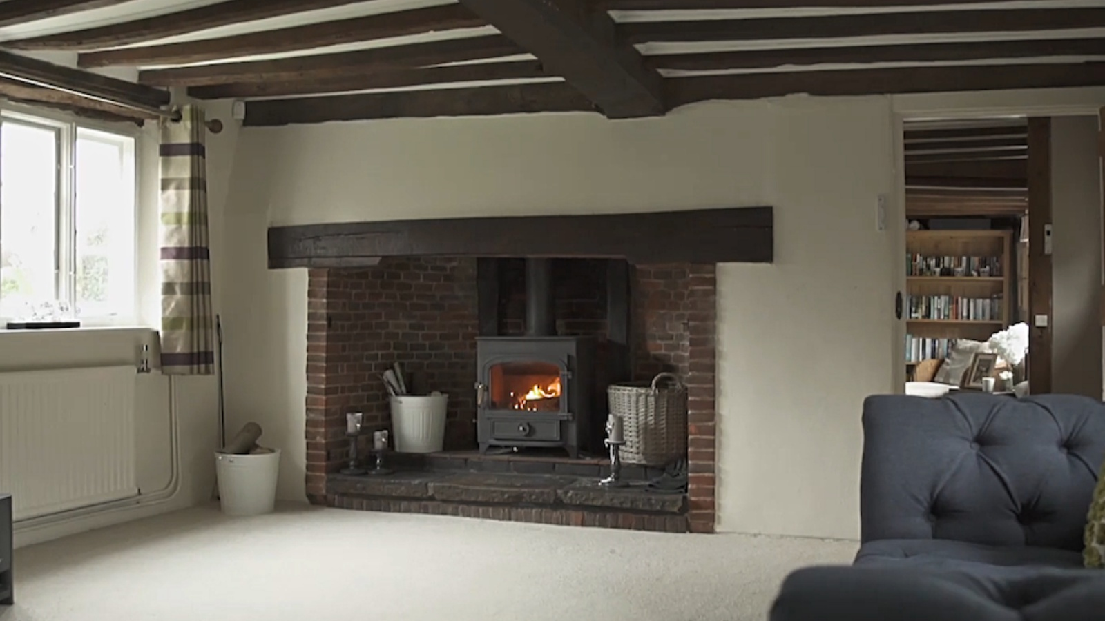 The inglenook fireplace at Cross Lanes Cottage