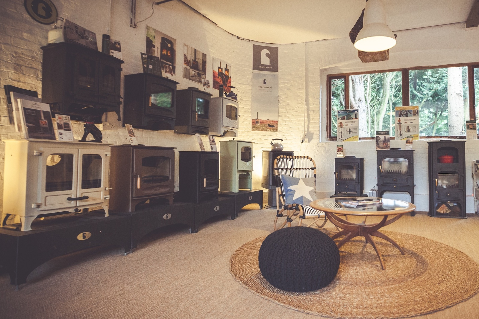 Our display of Charnwood & Clearview Stoves in the Bledlow Showroom