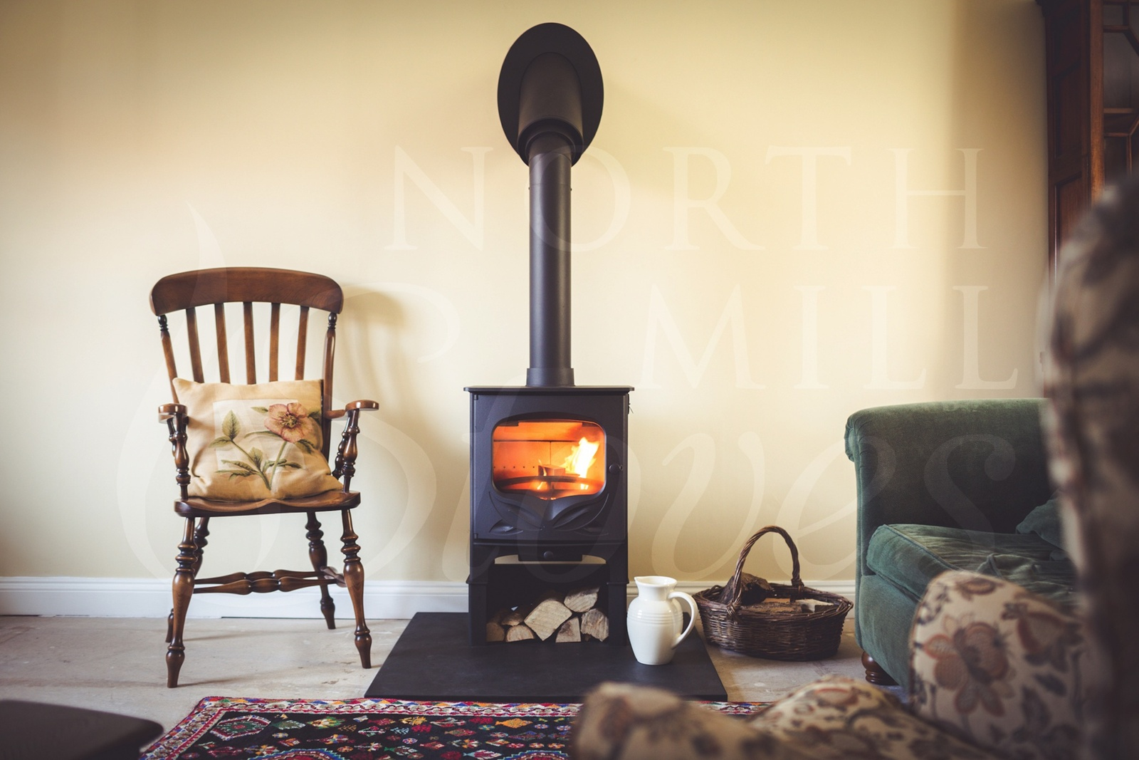 This lovely wychert cottage was the perfect backdrop to such a pretty stove.